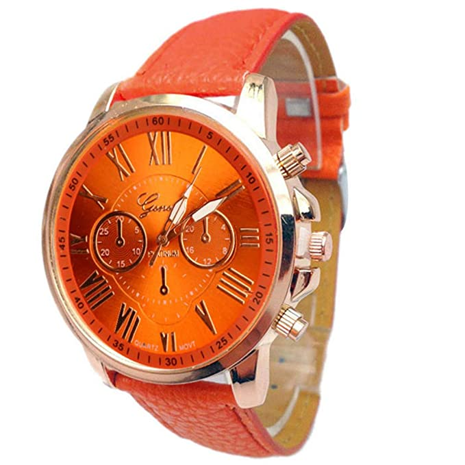 Amazon.com: Watches for Women DYTA Faux Leather Watch Strap 20mm Lady Watches on Clearance Under 10 Simple Wrist Watches Orange Face with Numbers Easy ...