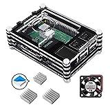 Smraza Raspberry Pi 3 B+ Case with Fan + Aluminum Heatsinks for Pi 3B 3b Plus 3 Model B+