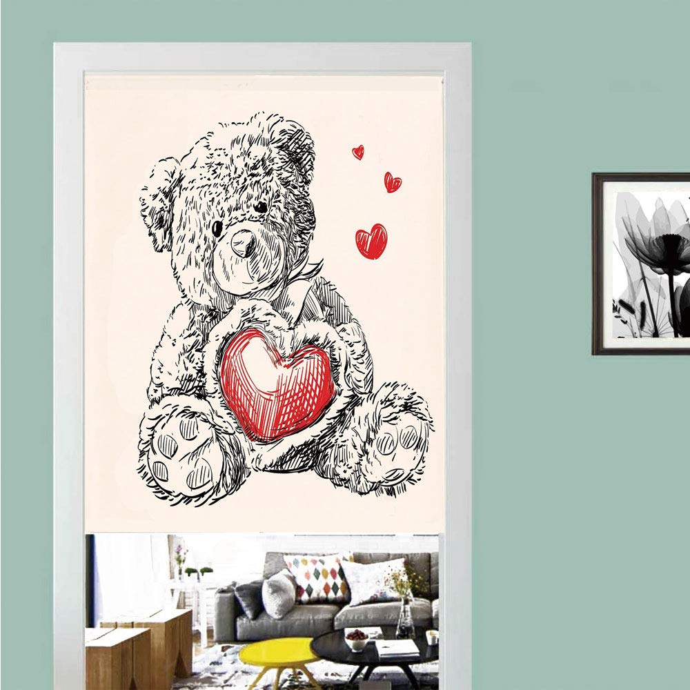 3D printed Magic Stickers Door Curtain,Doodle,Detailed Teddy Bear Drawing with Heart Instead of a Belly Mini Floating Hearts Decorative,Red Black White ,Privacy Protect for Kitchen,Bathroom,Bedroom(1