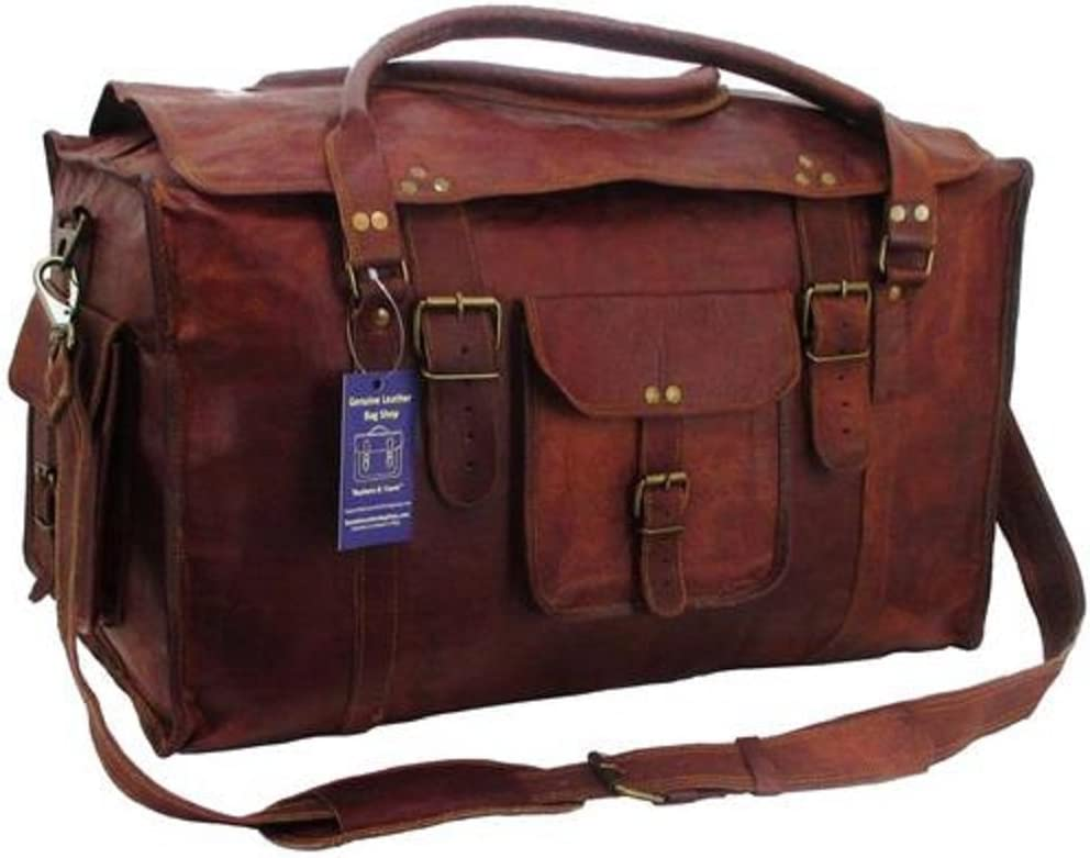 21 Inch Mens Retro Style Carry on Luggage Flap Duffel Leather Duffel Bag By TOM CLOVERS BAGS