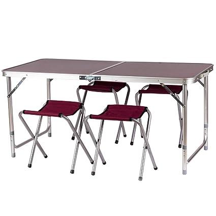 7f21380a6741 Amazon.com : Aobeau Outdoor Portable Picnic Aluminum Folding Table ...