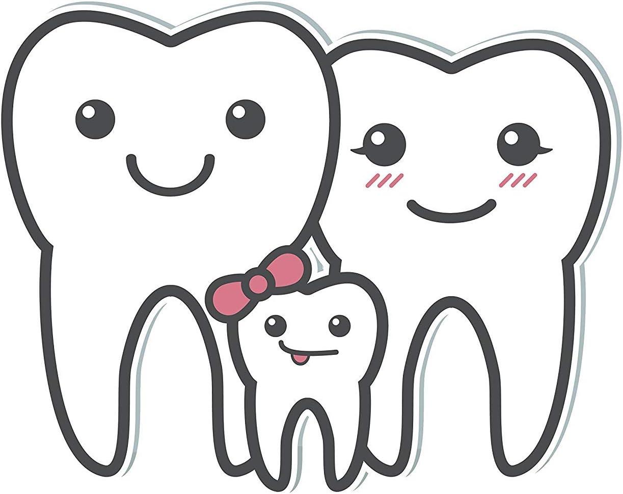 Amazon Com Ew Designs Cute Happy Dental Tooth Family Emoji Vinyl Decal Bumper Sticker 8 Wide Kitchen Dining