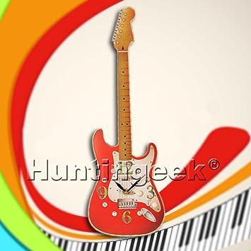 Novedad música instrucment - Reloj de pared en forma de guitarra eléctrica reloj música reloj de pared habitación decoración para colgar Art Regalo para ...