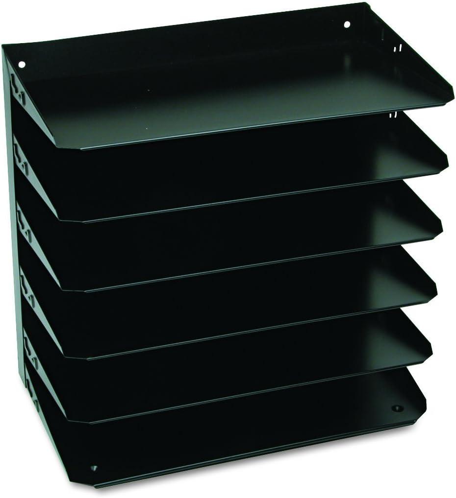 MMF Industries 6-Tier Legal-Size Horizontal Steel Desk Organizer, Black (2646HLBK)