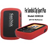 Silicone Case For SanDisk Clip Sport Plus Bluetooth MP3 Player (Model SDMX28) 2016 Release, Red/Orange