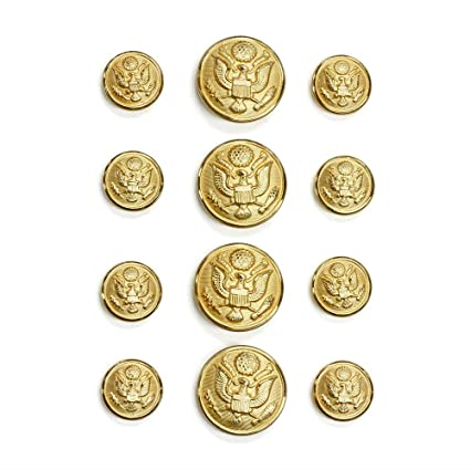 cbdd15b5b7b Amazon.com  Set of 12 US Military Gold Uniform Buttons in Two Sizes ...