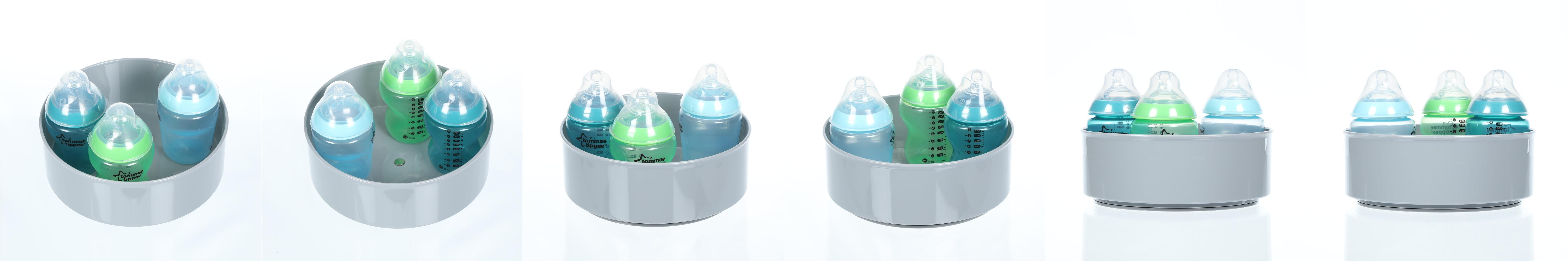 mDesign Estante giratorio para accesorios Bandeja redonda para accesorios de beb/é como biberones o chupetes Organizador con base giratoria en pl/ástico sin BPA y acero crema
