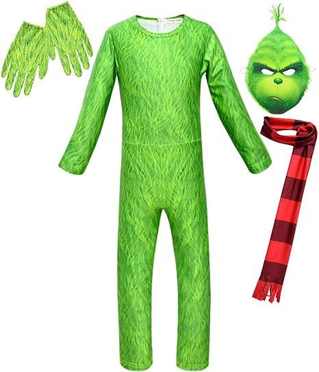 uDaShaA Disfraz de Grinch Guantes de máscara Verde Bufanda Disfraz ...