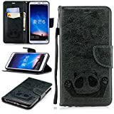 Misteem Cartoon Case LG K8 2018, Cute Retro Panda Pattern Leather Cases Flip Shockproof Card Holder Bookstyle/Stand / Magnetic Wallet Cover Protector LG K8 2018 - Panda Dark Green
