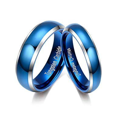 Amazon.com: Blue Wedding Rings Tungsten Carbide Couple Rings Set Polished  With Beveled Silver Edges Comfort Fit: Tianyi: Jewelry