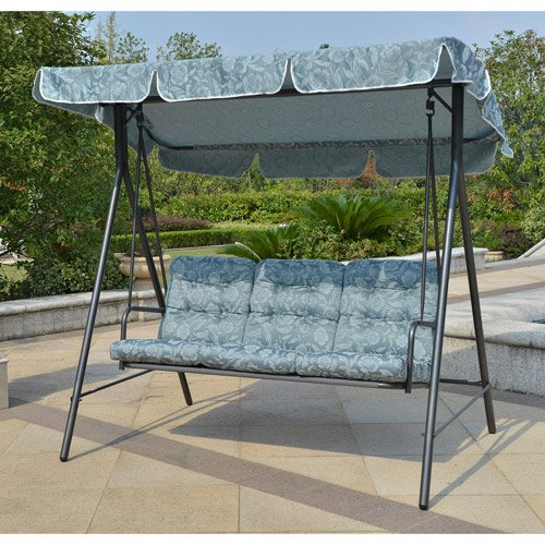 Mainstays Willow Springs Outdoor Swing, Blue, Seats 3 Review