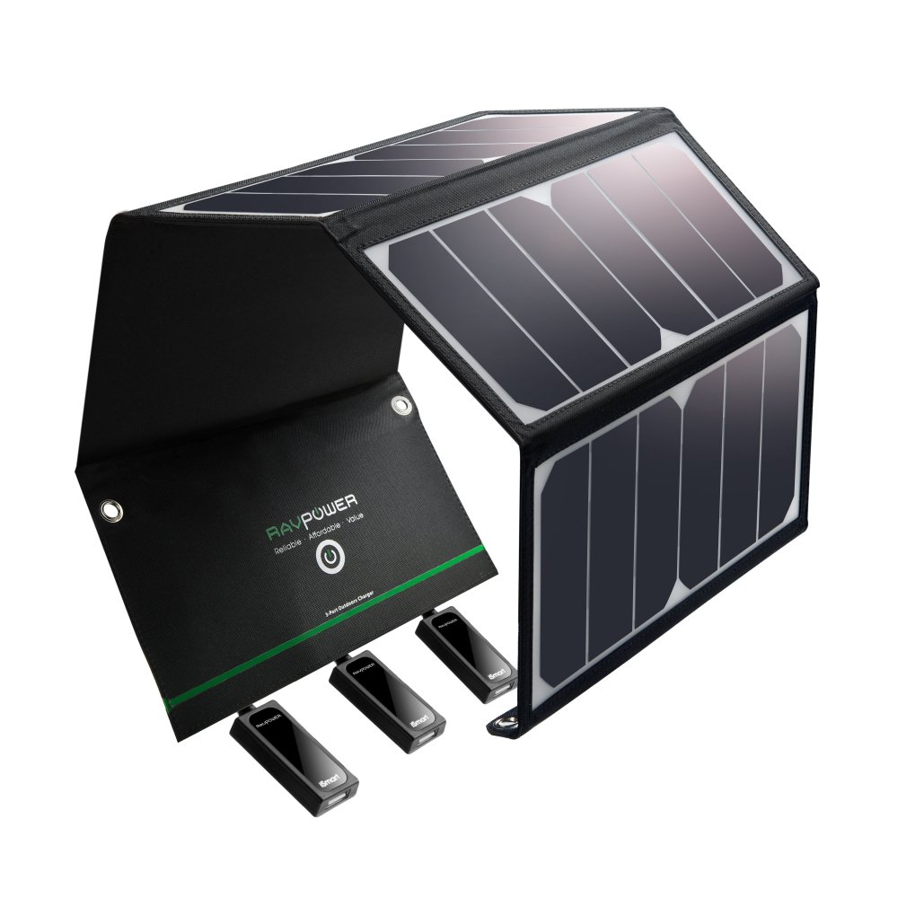 Solar Charger RAVPower 24W Solar Panel with 3 USB Ports Waterproof Foldable Camping Travel Charger Compatible iPhone X 8 7 6 Plus, iPad Pro Air Mini, Galaxy S9 S8 Note 8, Nexus, LG, HTC and More