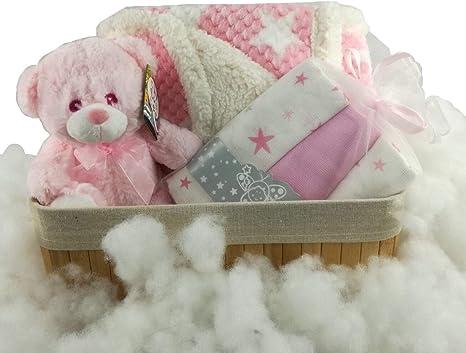 Canastilla bebé Osito entre nubes de algodón. Manta arrullo, muñeco musical, muselinas, cesta de almacenaje: Amazon.es: Bebé