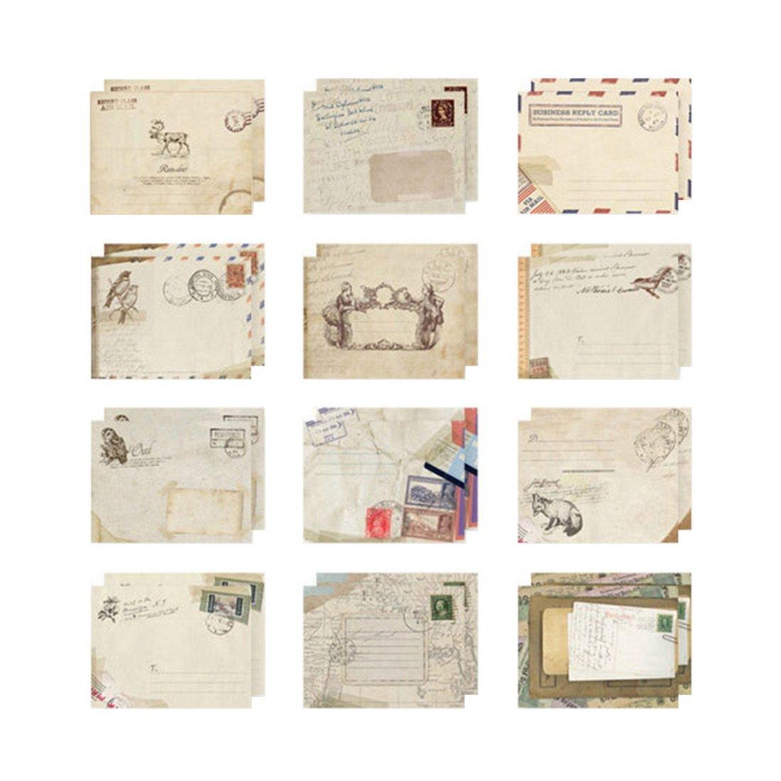 Loweryeah Beige Mini Paper Envelope for DIY Scrapbooking Pack of 12pcs