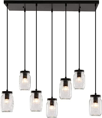 Heircido 7 Lights Glass Mason Jar Light Fixture