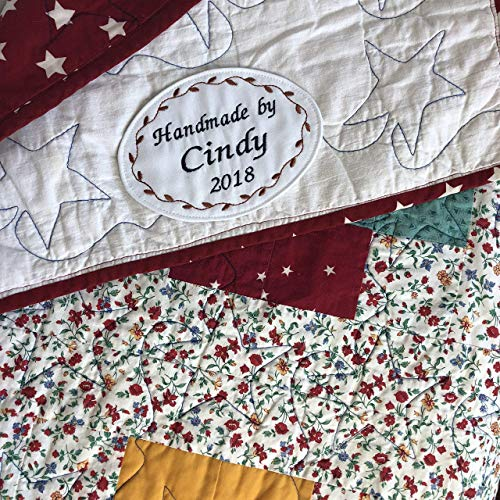 Sew On Quilt Label Personalized Fabric Label For Handmade Items One Large Embroidered Label 4 X 5 5 Inches