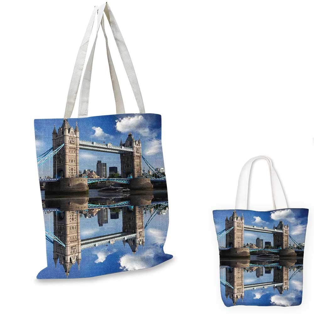 London canvas messenger bag Westminster with Big Ben and Bridge Nostalgic Image British Antique Architecture foldable shopping bag Sepia White 14x16-11