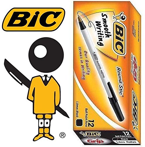 - BIC Round Stic 1.0 mm med/moy ball point pen 1 BOX 12 PCS (Pack of 12) (Black)