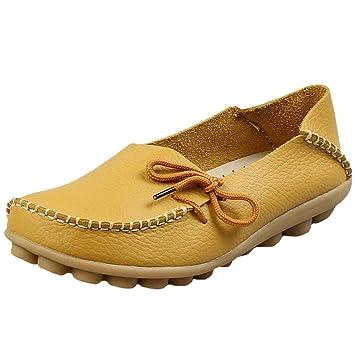 HhGold Mocasines de Cuero de Confort para el Trabajo para Mujer Mocasines Planos Zapatillas (Color : Style 1-Yellow, tamaño : 8.5 UK): Amazon.es: Hogar