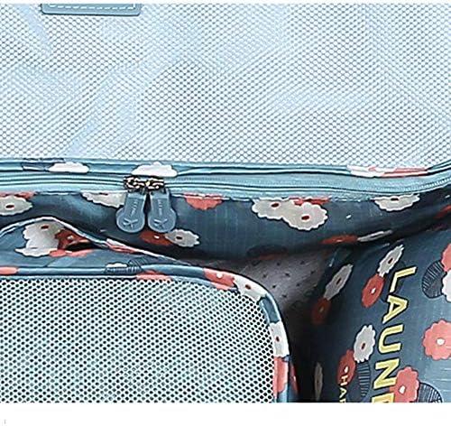 旅行用収納袋 6ピース防水服収納袋のセット旅行アクセサリーキューブ旅行主催者ポーチ服靴化粧品トイレタリーケーブル収納袋 ハンドロールアップ再利用可能な服 (色 : B, Size : Free size)