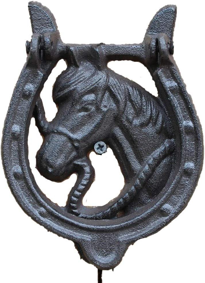 Manija de la puerta de caballo clásico retro Cabeza de Hierro Fundido Crafts puerta retro del golpe Patio Inicio decoración de la pared para Puerta