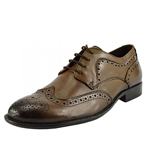 32cba649cec61 Men's Classic Oxford Real Leather Shoes Brogues Casual Lace Up Formal Shoes