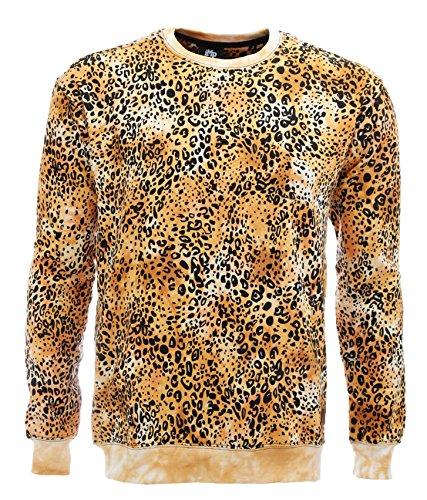 Imperious Men's Super Leopard Tie Dye Fleece Crewneck Sweatshirt-Gold-2XL