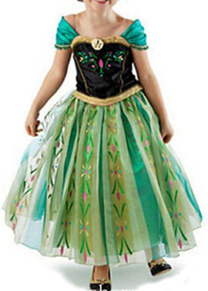 Canberries/® Prinzessin Kost/üm Kinder Glanz Kleid M/ädchen Weihnachten Verkleidung Karneval Party Halloween Fest Set aus Diadem Handschuhe Zauberstab,Zopf,Halskette