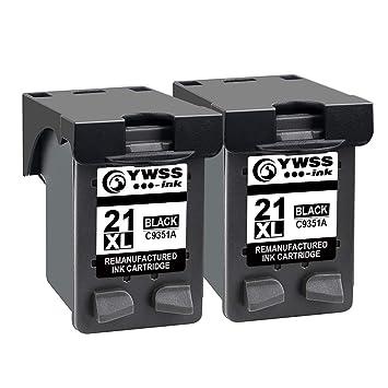 YWSS Remanufacturado Cartucho de Tinta para HP 21XL HP 21 Alto Rendimiento Cartucho de Tinta (2 Negro) C9351A para HP Deskjet 3940 D1530 F2280 D2360 ...
