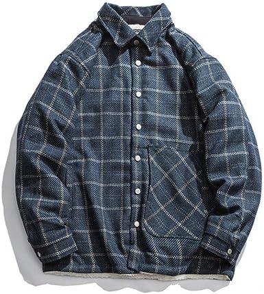 XMYNB 2019 Otoño E Invierno Nueva Camisa A Cuadros Retro Más Camisa De Terciopelo Chaqueta De Camisa Casual Japonesa De Herramientas Salvajes para Hombres: Amazon.es: Ropa y accesorios