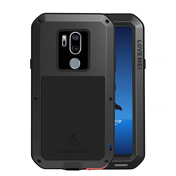 pretty nice 3ab3f d3717 LG G7 Case, LG G7 ThinQ Case, Armor Hybrid Aluminum Alloy Cover Heavy Duty  Gorilla Glass Rubber Waterproof Shockproof 360 Protective Military Outdoor  ...