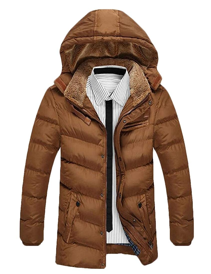ouxiuli Mens Coats Winter Puffer Hooded Thick Cotton Padded Quilted Warm Down Jacket