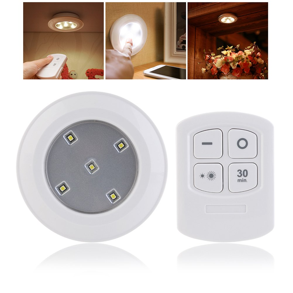 LEDMOMO Wireless Puck Light with Remote Control LED Battery Powered Touch Light Stick Anywhere for Hallway Staircase Closet Bathroom Bedroom (Warm Light)
