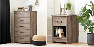 South Shore Tassio 5-Drawer Chest Weathered Oak & Tassio 1-Drawer Nightstand-Weathered Oak