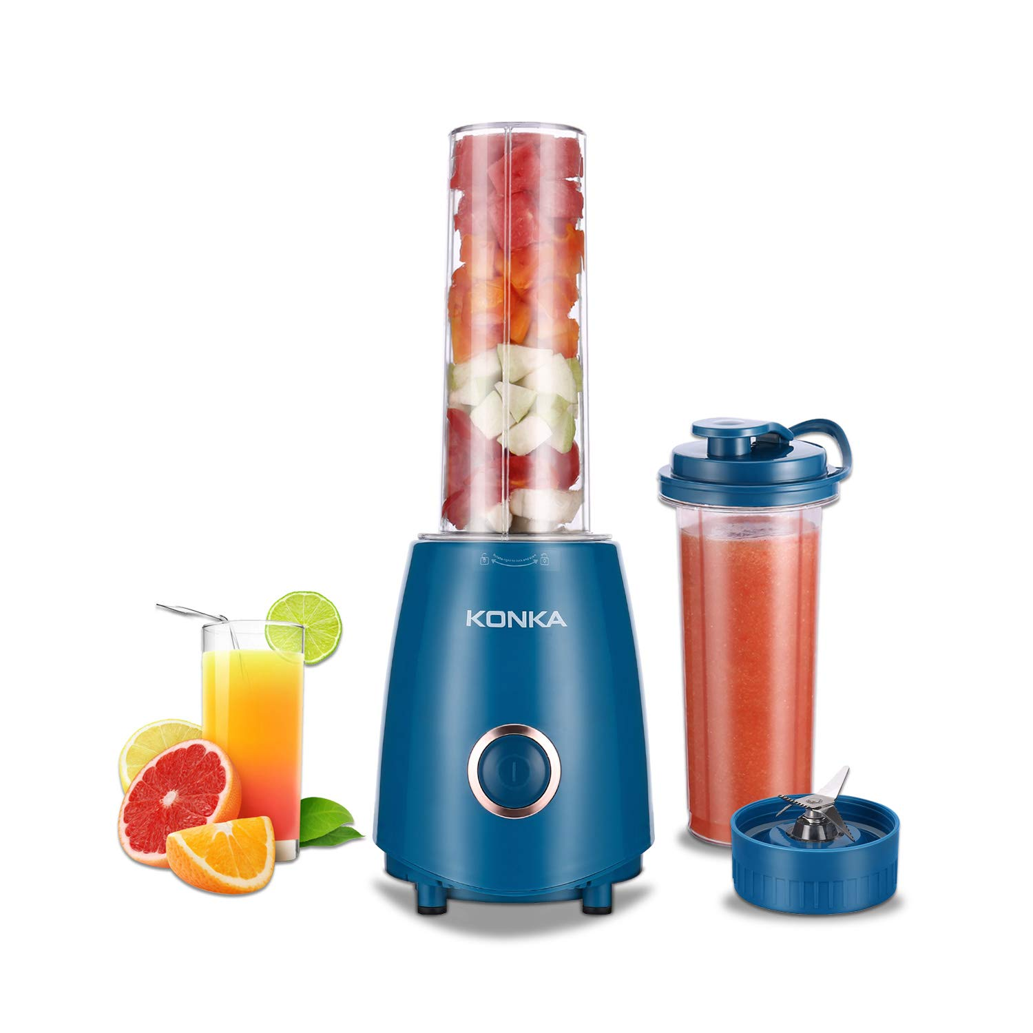KONKA Smoothie Blender,Professional Personal High Speed Blender for Juice Shakes, Juice Extractor with Two Large Tritan Travel Cups 18oz BPA Free, Blue