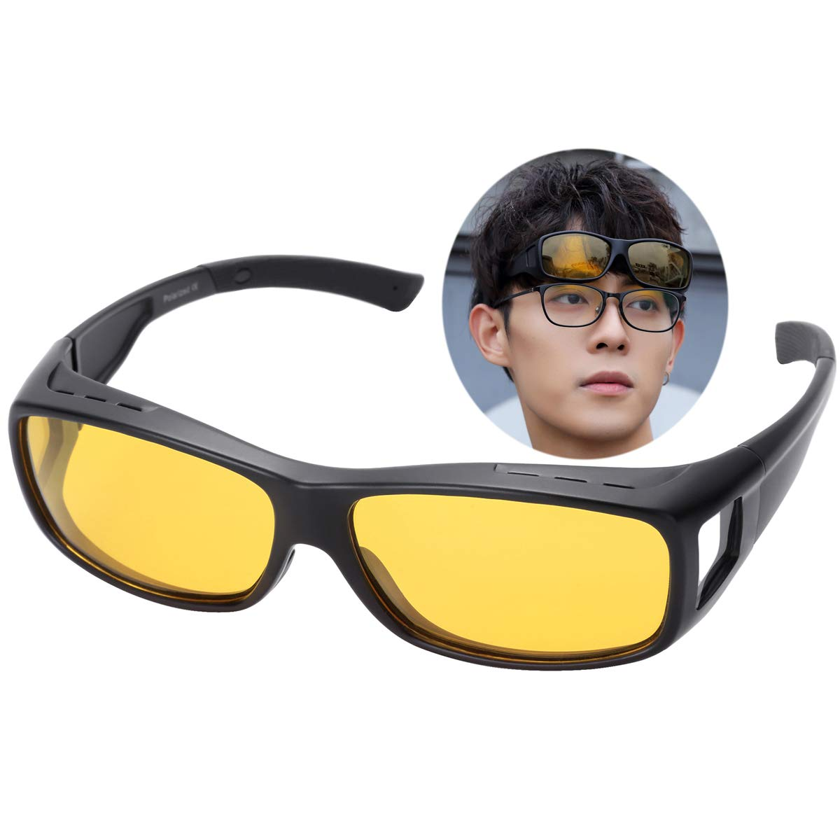 O-LET Night Vision Fit Over Glasses Sunglasses Yellow for Men Women Driving Polarized (black frame/yellow lens, Medium)
