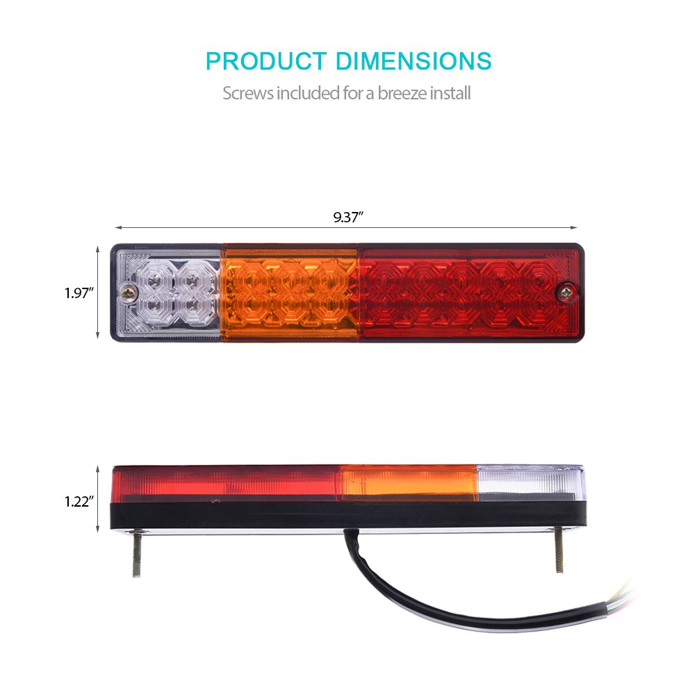 DC12V Turn Signal and Parking Reverse Brake Running Lamp for Car Truck Red-Amber-White MICTUNING 20 LED Trailer Tail Lights Bar-Waterproof 2 Pack