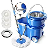 Magic Spin Mop and Bucket Sets with Wheels,3 Replacement Microfiber Wringer Mop Heads & 1 Floor Brush Head Stainless Steel 360 Spinning Mop Masthome