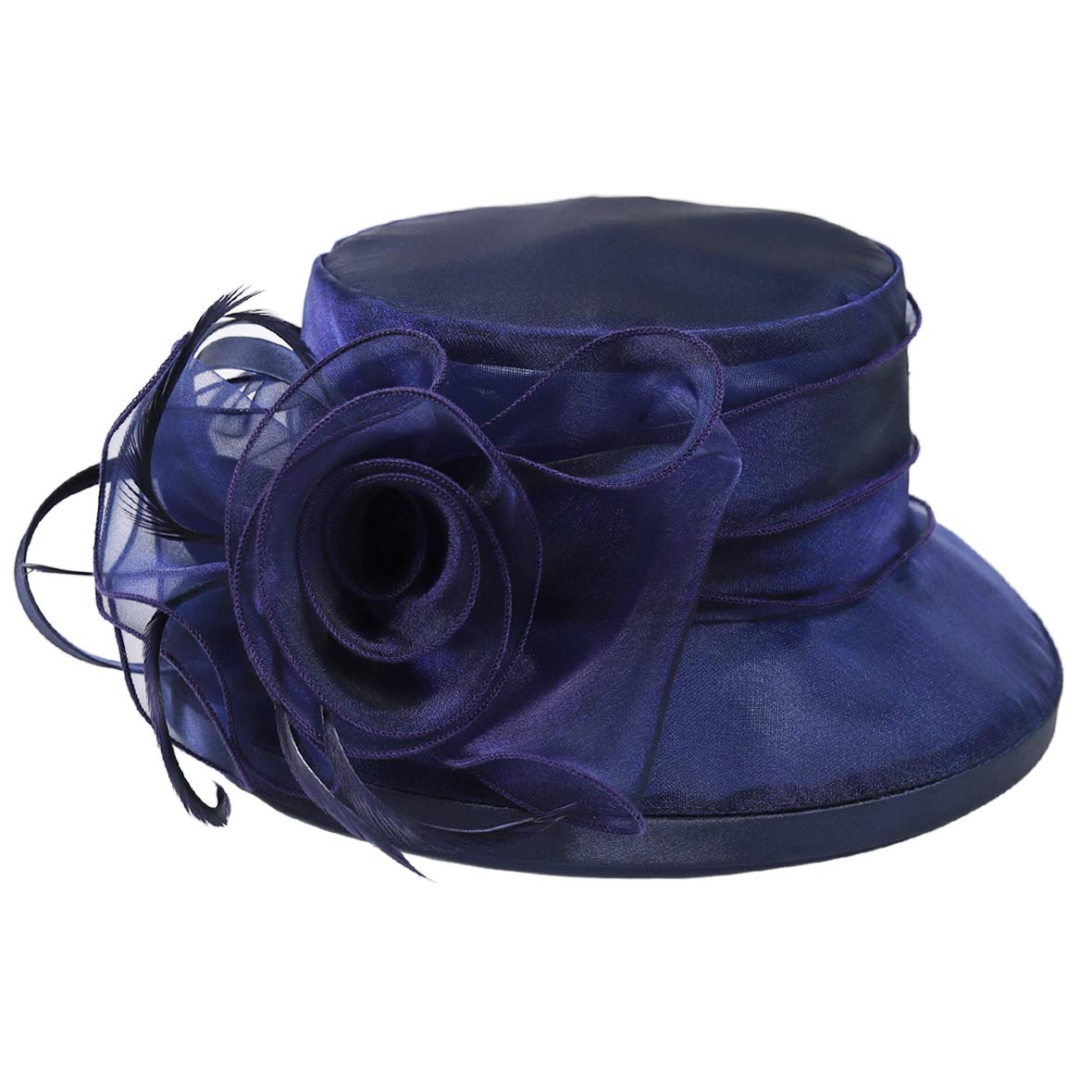 Lady Church Derby Dress Cloche Hat Fascinator Floral Tea Party Wedding Bucket Hat S051 (S043-Navy) by Ruphedy (Image #3)