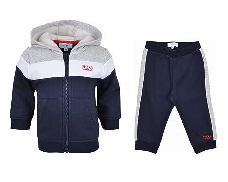 e93af9cbb HUGO BOSS J02180 849 NAVY GREY HOODED BABY TRACKSUIT 3M - 3 YEARS: Boss:  Amazon.co.uk: Clothing