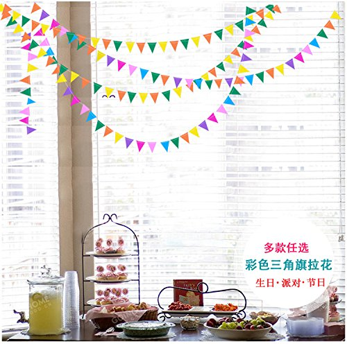 Get Orange Pack of 4 12-feet Long Paper Small flags Rainbow Hanging Decoration String Paper Garland Wedding Birthday Party Baby Shower Background Decorative