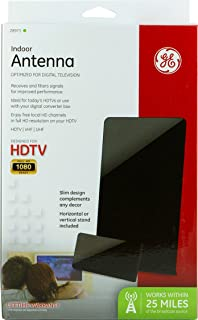 GE 28973 Flat Panel HD Antenna - Indoor VHF/UHF High-Definition TV Antenna