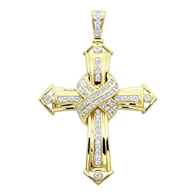 0fb468b21e9d7 Small 10k Rose, White or Yellow Gold Real Diamond Cross Mens Pendant ...