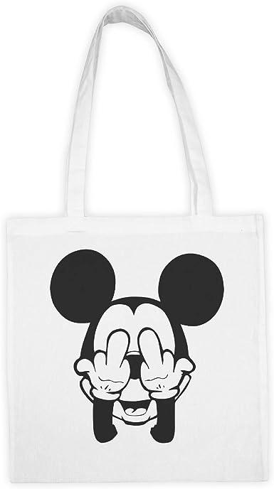 Mickey Mouse Swag Trippy Disney Dope Fuck Bolsa de tela blanca con impresión y dijo divertido. Tote bag. Bolsa de compras reutilizable. Bolsa shopping. Bolsa tote ideal par compras.: Amazon.es: Ropa y