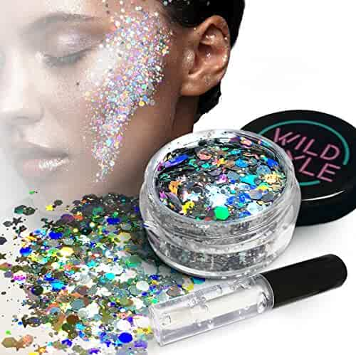 Cosmetic Glitter For Face, Body and Hair - Chunky Silver Holographic Glitter Mix - Versatile Festival, Rave and Beauty Makeup - Includes Long Lasting Fix Gel So You Can Shimmer Straight Out of the Box