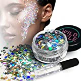 Facial Bones Cheekbones - Cosmetic Glitter For Face, Body and Hair - Chunky Silver Holographic Glitter Mix - Versatile Festival, Rave and Beauty Makeup - Includes Long Lasting Fix Gel So You Can Shimmer Straight Out of the Box