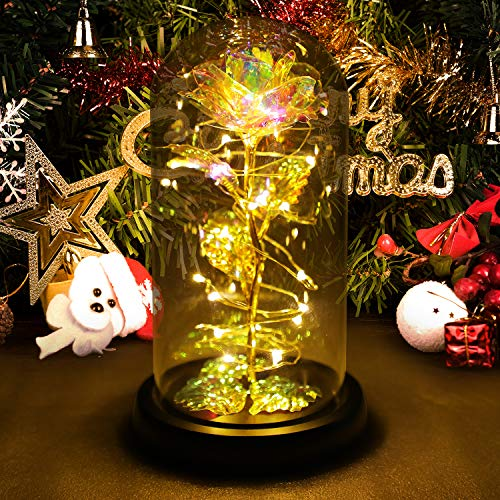 Gift for her,Women's Gift Birthday Gifts Colorful Artificial Flower Rose Gift Led Light String on Colorful Flower, Last…