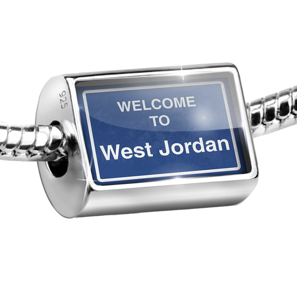 Sterling Silver Bead Sign Welcome To West Jordan Charm Fits All European Bracelets