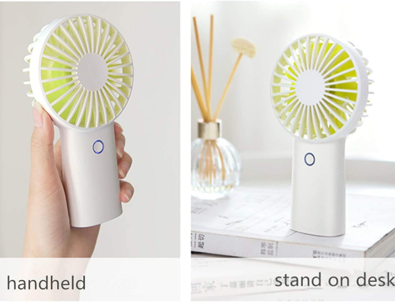 4000MAH Rechargeable USB Handheld Mini Fan Third Gear Silent Strong Wind Personal Air Cooler Portable Desk Fans for Home Office,Navy Blue
