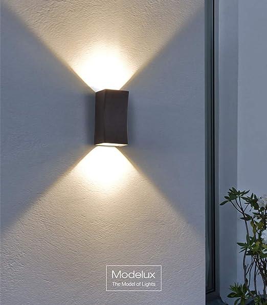 Lámpara de pared de exterior LED Antracita 10W 3000K Iluminación Apliques Villa Jardín Corredor Patio Entrada de la casa Escalera Terraza Cerca Decoración luces de pared 10.5 * 9.2 * 20 cm: Amazon.es: Hogar